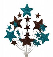 Christening cake topper decoration in teal and choc - free postage